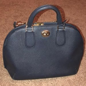 Coach Navy Blue Bowling Bag Style Bag